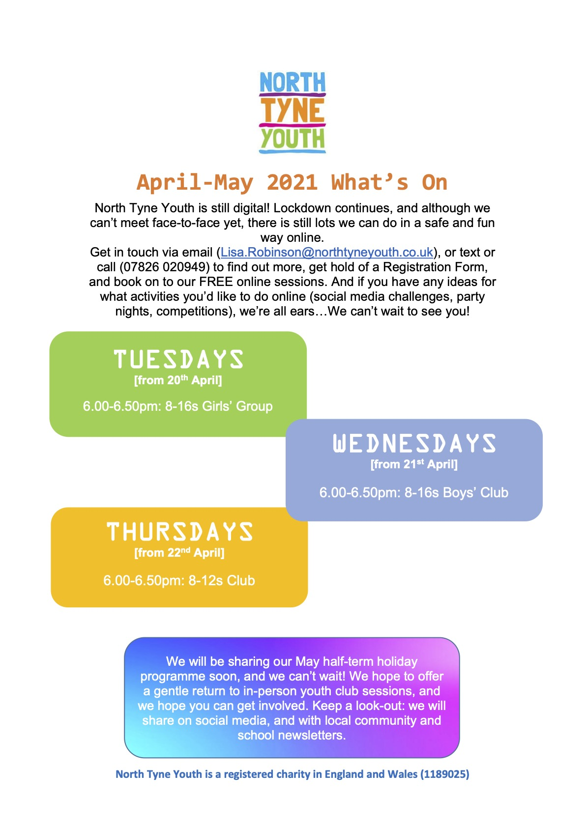 north tyne youth what's on april/may 2021