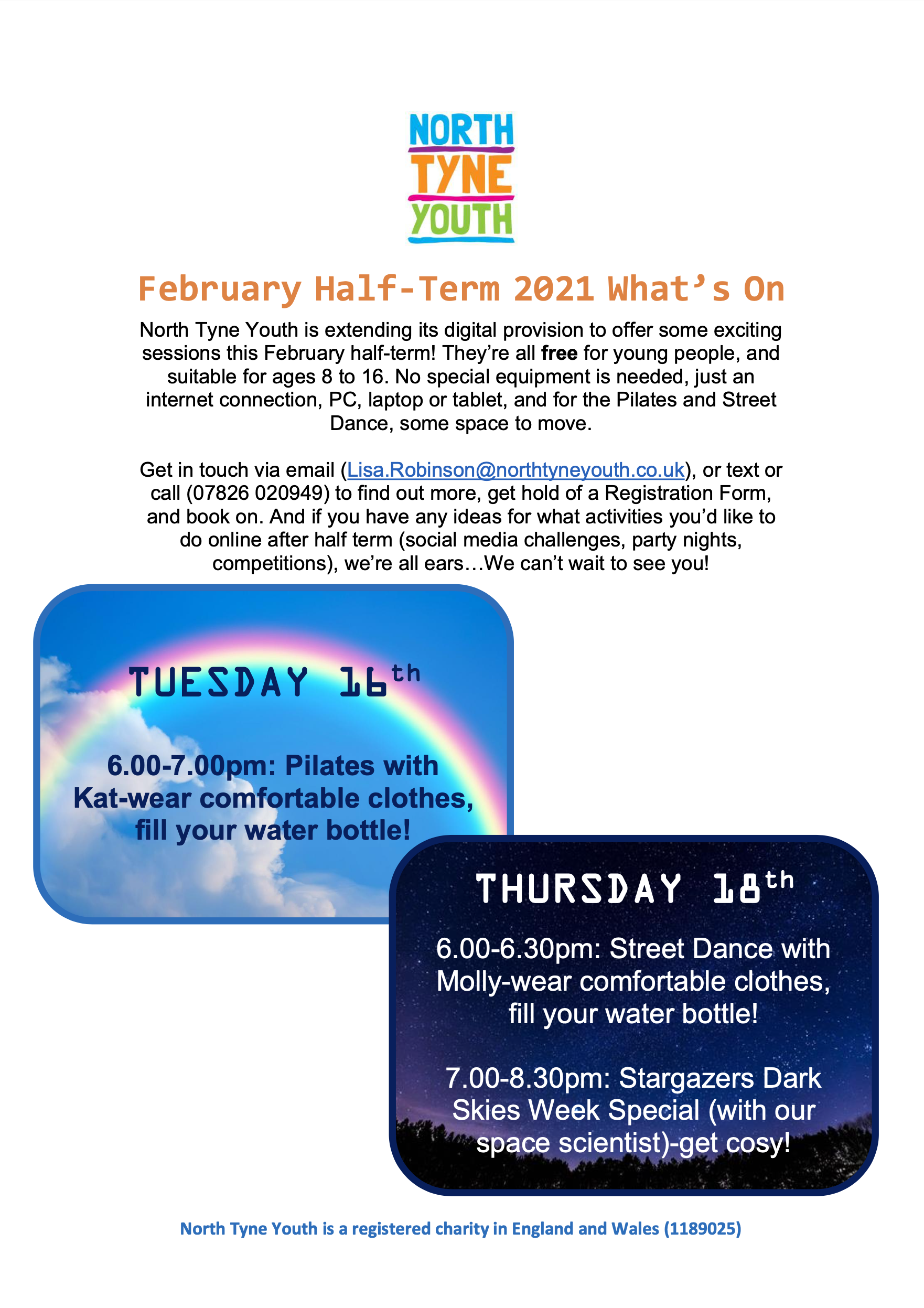 north tyne youth february half term poster