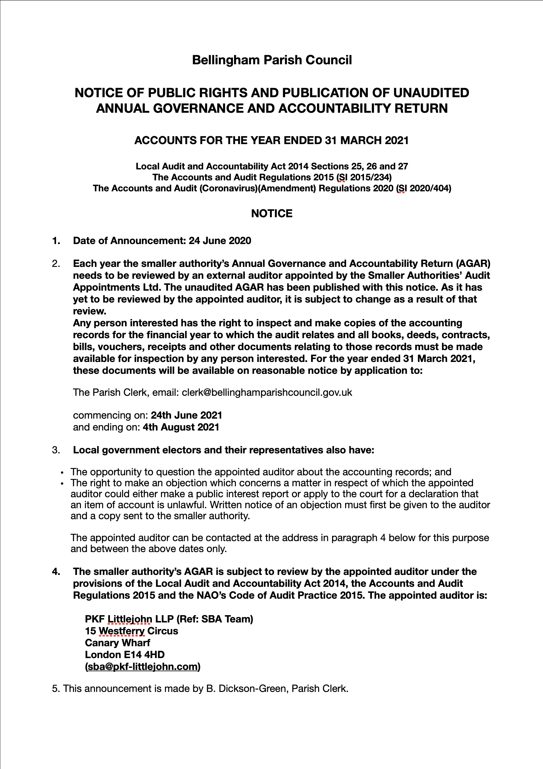 notice of public rights and publication of unaudited annual governance and accountability return