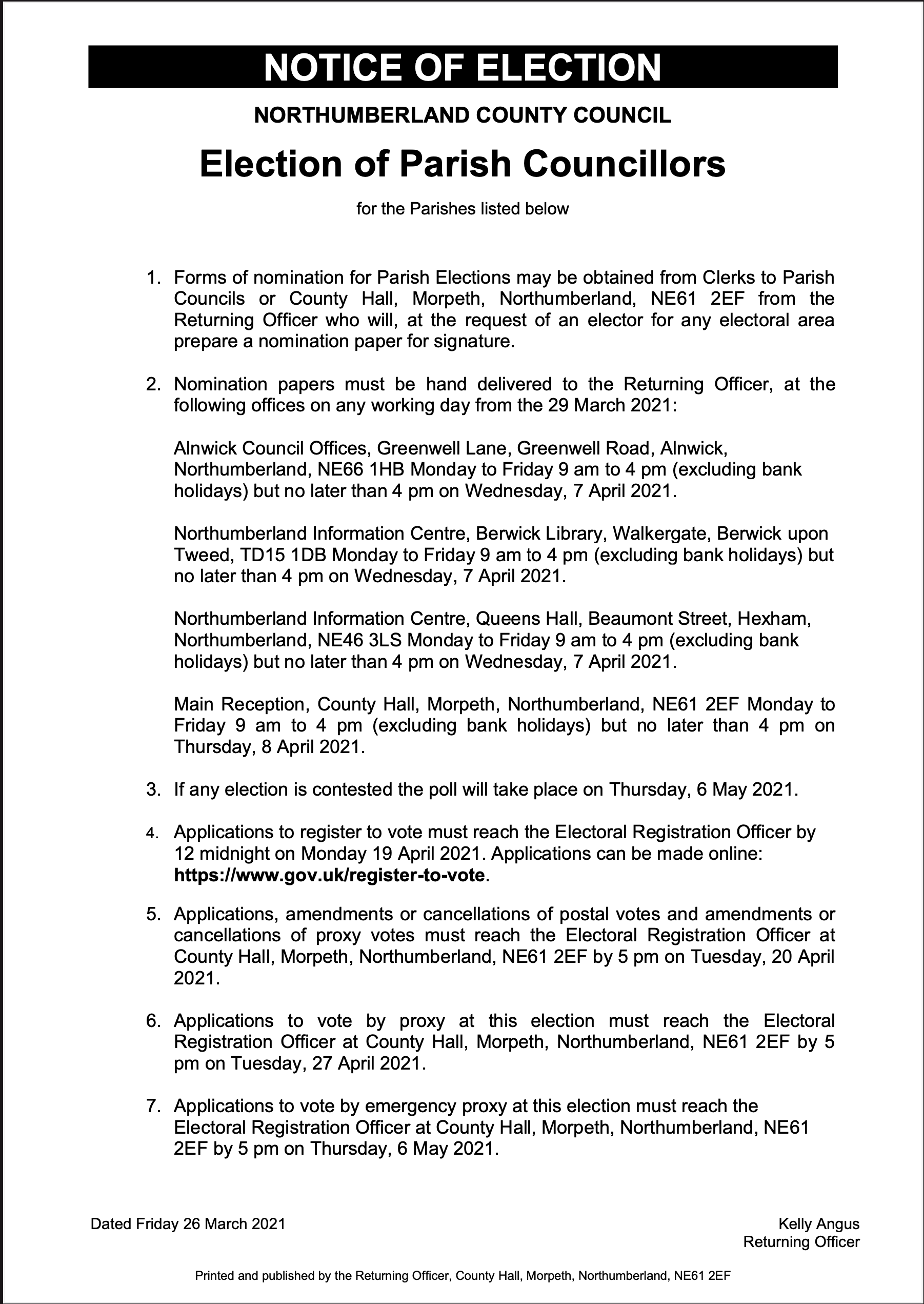 notice of election document