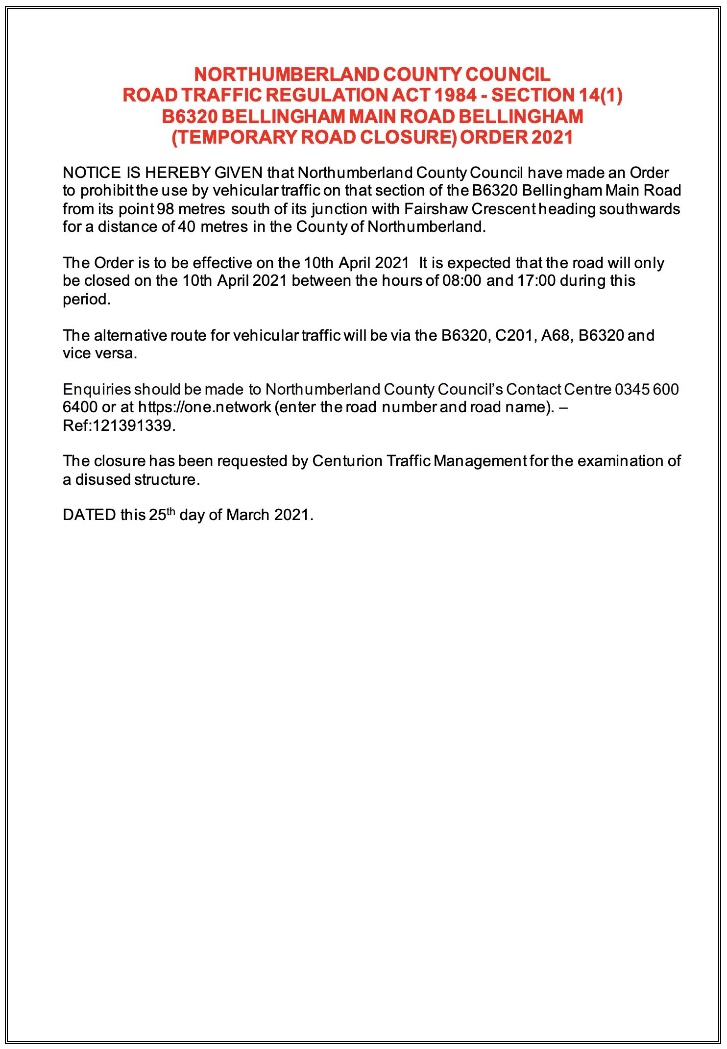 road closure notice