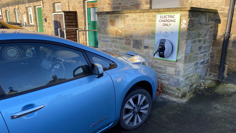 car charging at the town hall