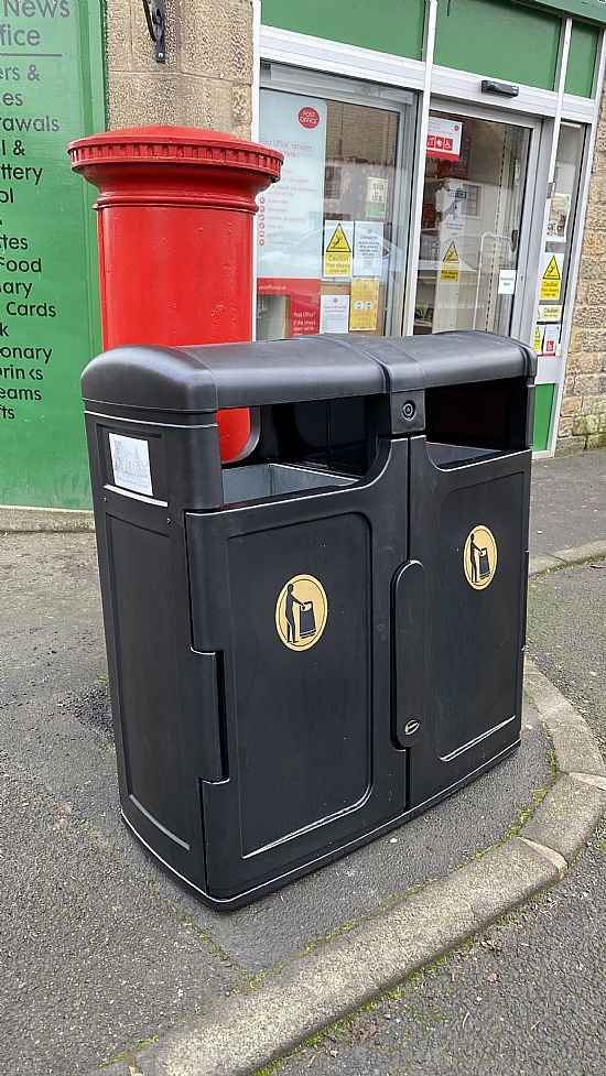 photo of bins outside the post office