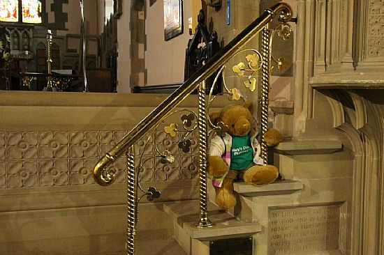 big ted sitting on pulpit steps