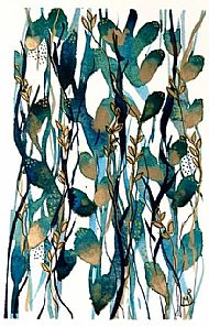 Blue and gold botanical abstract