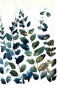 Blue and green leaf abstract