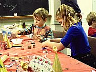 Christmas crafts in a community hall