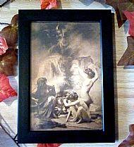 Framed vintage witch print no1