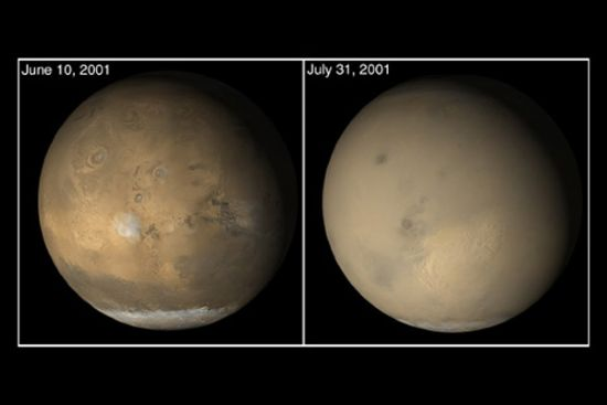 a dust storm rages across the face of mars