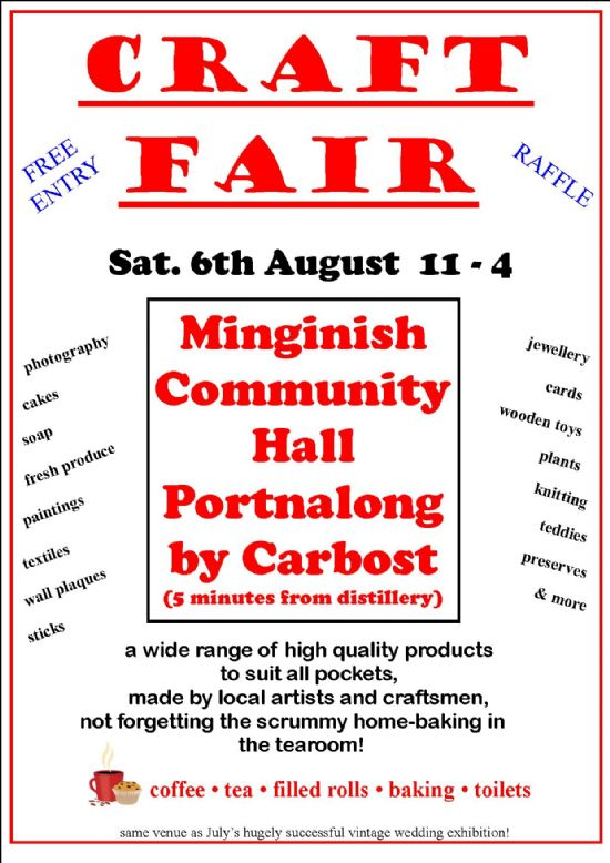 summer 2011 craft fair at minginish community hall, portnalong  saturday 6th august 2011 11am to 4pm