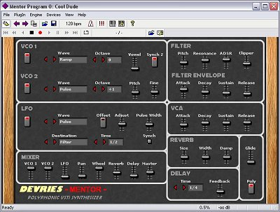 devries mentor vst virtual analogue synthesizer
