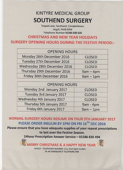southend surgery christmas opening times