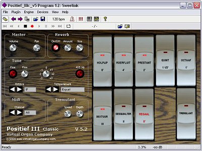 virtual organ company positief iii v5 virtual vst dutch style pipe organ software screenshot