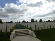 built on the eastern edge of the tyne cot cemetery located in belgium flanders in an area known as the ypres salient. on its panels are inscribed the names of 492 officers and men from the yorkshire regiment, who were listed as missing presumed dead, one of whom is serjeant fred burks.