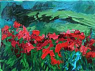 Poppies with a Dark Sky