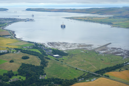 aerial view of cromarty firth and river alness, ross-shire