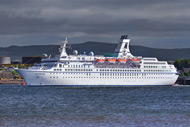 ms astor cruise ship docked at invergordon.