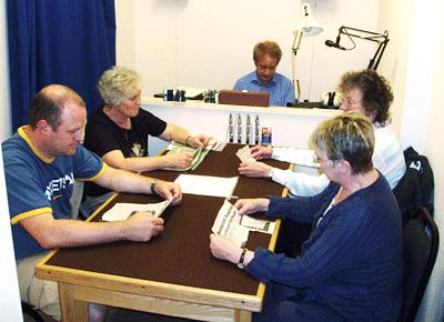 volunteers recording