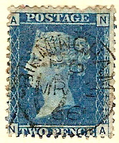 Two Pence Blue 1866