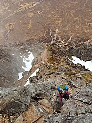 Charlie enjoying Curved Ridge on Buachaille Etive Mor