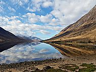 Loch Etive looking spectacular before a brilliant day climbing on Etive Slabs