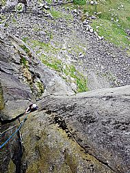 Ben climbing the Direct Route on Dinas Mot