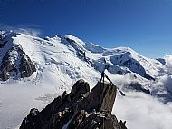 Charlie on the last section of the Arete Des Cosmiques