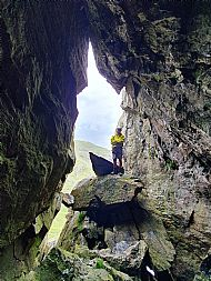 Paul at the Attic Cave on Dove's Nest Crags in the Lake District