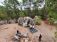 Charlie bouldering at Rocher Fin in Fontainebleau