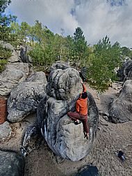 Charlie bouldering at L'Elephant in Fontainebleau