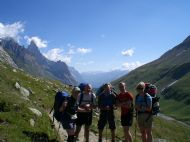 With a group on the Tour of Mont Blanc