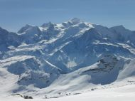 View across the Mont Blanc Massif when skiing in Flaine