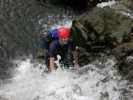 Mike enjoying the ghyll scrambling in Sourmilk Ghyll, Grasmere - Lake District