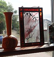 Stain glass Richard Leclurc & wooden holder Dave Tapson