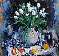 White Tulips and Orange Scissors