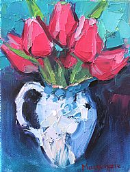 Tulips in a Blue Jug