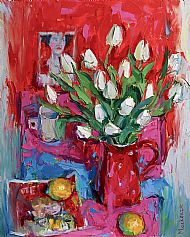 White Tulips in Spotty Jug