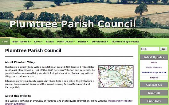 screenshot of parish council website