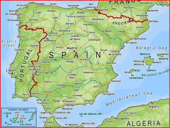 Tenerife Cartina Stradale.Carta Geografica Della Spagna Politica