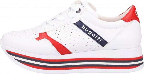 Bugatti Sneaker Lederimitat Weiß/Rot