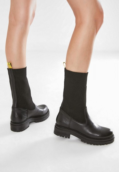 Inuovo Booties Leather/Textile Black