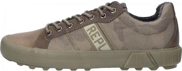 Replay Sneaker Leder/Textil Oliv