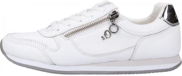 s.Oliver BLACK LABEL Sneaker Leder/Textil Weiß