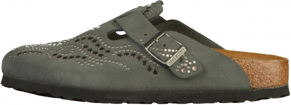 Birkenstock Boston Clogs Veloursleder Injected Gunmetal