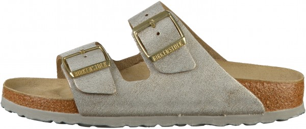 Birkenstock Arizona Pantoletten Veloursleder Washed Metallic Blue Silver