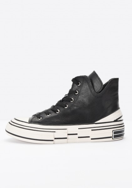 Inuovo Sneaker Leather fabric black2