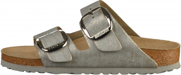 Birkenstock Arizona Big Buckle Pantoletten Veloursleder Washed Metallic Blue Silver