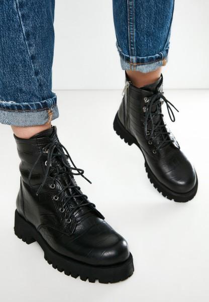 Inuovo Stiefelette Leder Croco Black