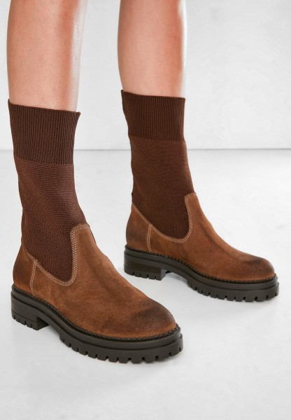 Inuovo Booties Leather/Textile brown