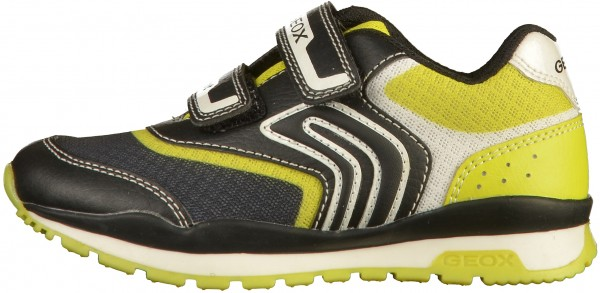 Geox Sneaker Lederimitat/Mesh Schwarz/Lime